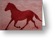 Running Horse Painting Greeting Cards - Running Horse Silhouette red wine painting Greeting Card by Georgeta  Blanaru