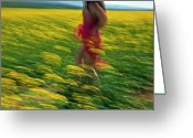 Rape Greeting Cards - running in the May Greeting Card by Renata Vogl