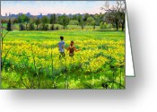 Color Image Painting Greeting Cards - Running in the mustard field Greeting Card by Dominique Amendola