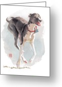 Dog Prints Greeting Cards - Running Italian Greeting Card by Debra Jones