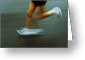Sprinting Greeting Cards - Running Greeting Card by Kevin Curtis