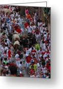 Historic Site Greeting Cards - Running of the Bulls Greeting Card by Kristopher Kettner