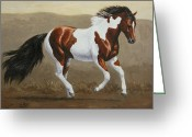 Wild Horses Greeting Cards - Running Pinto Mustang Greeting Card by Crista Forest