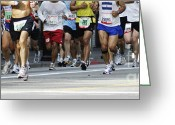 Shorts Greeting Cards - Running the Race Greeting Card by Micah May