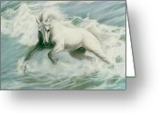 Horses Pastels Greeting Cards - Running Tide Greeting Card by Kim McElroy