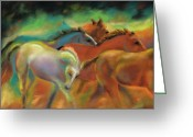 White White Horse Pastels Greeting Cards - Running with Friends Greeting Card by Frances Marino