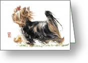 Pet Art Greeting Cards - Running Yorkie Greeting Card by Debra Jones