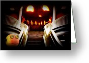 Trick Greeting Cards - Rupert at the Staircase Greeting Card by Gravityx Designs