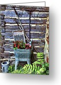 Wash Board Greeting Cards - Rural American Graden Scene Greeting Card by Linda Phelps