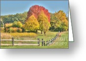 Barks Greeting Cards - Rural Autumn Greeting Card by Deborah Smolinske