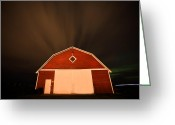 Asphalt Digital Art Greeting Cards - Rural Barn Night Photograhy Greeting Card by Mark Duffy