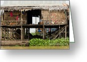 Flooded Greeting Cards - Rural Fishermen Houses in Cambodia Greeting Card by Artur Bogacki