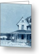 Pram Greeting Cards - Rural Victorian House in Winter Greeting Card by Jill Battaglia