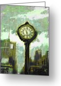 Skyscraper Mixed Media Greeting Cards - Rush Hour NYC Greeting Card by Russell Pierce