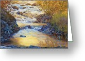 Fall River Scenes Painting Greeting Cards - Rushing Gold Greeting Card by Donna Lee Clemenson
