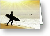 Surf Silhouette Greeting Cards - Rushing Surfer Greeting Card by Carlos Caetano