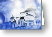 Easter Digital Art Greeting Cards - Russian Church in a Blue Cloud Greeting Card by Sarah Loft