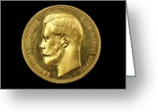 Head Of State Greeting Cards - Russian Gold Coin From 1896 Greeting Card by Ria Novosti