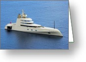 Mega Greeting Cards - Russian Mega Yacht  A - St Lucia Greeting Card by Chester Williams