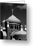 White Russian Greeting Cards - Russian Orthodox Church BW Greeting Card by Karol  Livote