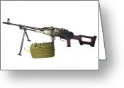 Gun Butt Greeting Cards - Russian Pkm General-purpose Machine Gun Greeting Card by Andrew Chittock