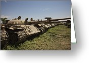 Russian Civil War Greeting Cards - Russian T-62 Main Battle Tanks Rest Greeting Card by Terry Moore