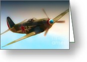 Yak Greeting Cards - Russian Yak No.6  2011 Chino Air Show Greeting Card by Gus McCrea