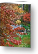 Orange And Green Greeting Cards - Rust Colored Leaves over Autumn Pond Greeting Card by Carol Groenen