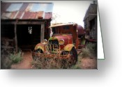 Ghost Town Greeting Cards - Rusted classic Greeting Card by Perry Webster