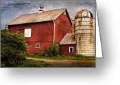 Red Barns Greeting Cards - Rustic Barn Greeting Card by Bill  Wakeley
