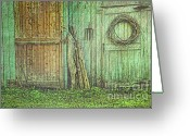 Shed Photo Greeting Cards - Rustic barn doors with grunge texture Greeting Card by Sandra Cunningham