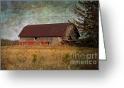 Cabin Window Greeting Cards - Rustic Barn Greeting Card by Ms Judi