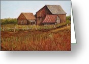 Old Farms Greeting Cards - Rustic Barns Greeting Card by Reb Frost