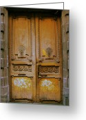 Entrance Door Greeting Cards - Rustic French Door Greeting Card by Georgia Fowler