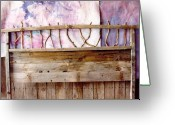 Country Sculpture Greeting Cards - Rustic Headboard Greeting Card by Thor Sigstedt