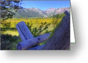 Olympic Greeting Cards - Rustic moss covered pioneer era fence in Olympic Valley California Greeting Card by Scott McGuire