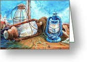 Hurricane Lamps Greeting Cards - Rustic Relics Greeting Card by Hanne Lore Koehler