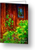 Shed Digital Art Greeting Cards - Rustic Summer Shed Greeting Card by Christine S Zipps
