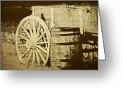 Antique Wagon Greeting Cards - Rustic Wagon and Barrel Greeting Card by Tom Mc Nemar