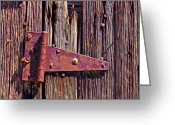 Nails Greeting Cards - Rusty barn door hinge  Greeting Card by Garry Gay