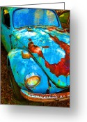 Rusted Cars Digital Art Greeting Cards - Rusty Blue Greeting Card by Kendra Clayton