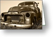 Drag Greeting Cards - Rusty But Trusty Old GMC Pickup Truck - Sepia Greeting Card by Gordon Dean II