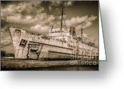 Docks Greeting Cards - Rusty Duke Greeting Card by Adrian Evans