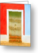 Screen Doors Greeting Cards - Rusty Iron Door Greeting Card by Perry Webster