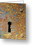 Wall Greeting Cards - Rusty key-hole Greeting Card by Carlos Caetano