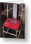 Mood Greeting Cards - Rusty Metal Chair Greeting Card by Garry Gay