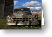 Lyle Hatch Greeting Cards - Rusty Old Cadillac Greeting Card by Lyle Hatch