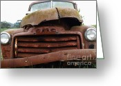 Old Trucks  Greeting Cards - Rusty Old GMC Truck . 7D8396 Greeting Card by Wingsdomain Art and Photography