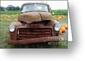 Pumpkin Farm Greeting Cards - Rusty Old GMC Truck At The Pumpkin Patch . 7D8395 Greeting Card by Wingsdomain Art and Photography