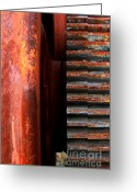 Rail Roads Greeting Cards - Rusty Old Train Wheel Greeting Card by Wingsdomain Art and Photography